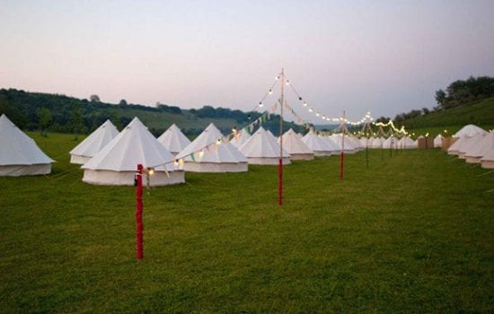 Stonor Park Accommodation Blue Bell Tents Dusk Feeston