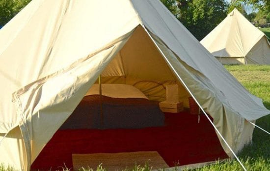 Stonor Park Accommodation Blue Bell Tents Open Double Red Carpet